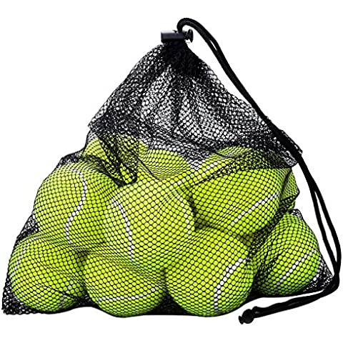 Pelotas de tenis de OMorc -12 paquete con malla bolsa de transporte, robusto y duradero, - Gran para las lecciones, práctica, que lanzan maquinaria y jugar con las mascotas