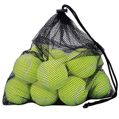 12 Pack Tennisbälle, OMorc Tennisbälle Fort Tournament, Tennis practice ball mit Mesh Tragetasche, ideal für Tennis-Unterricht, Praxis, Wurfmaschinen und spielen mit Haustieren