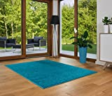 Designer Teppich Friese Einfarbig Modern Verschiedene Größen und Farben Blau (160x230)