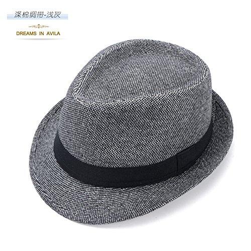 DMXY-chapeaux de paille à l'ombre petit Jazz rétro anti-Sai Hat women chapeaux chapeau de paille chapeau gentleman Light gray