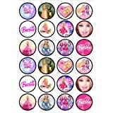 Barbie Edible PREMIUM THICKNESS SWEETENED VANILLA,Wafer Rice Paper Cupcake Toppers/Decorations