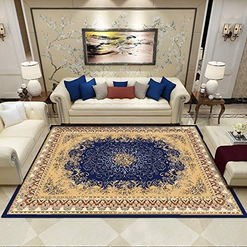 Moderne zeitgenössische, Luxus Designer Wohnzimmer Schlafzimmer Nachtteppich,Blau, Golddruck, 80 * 120cm -