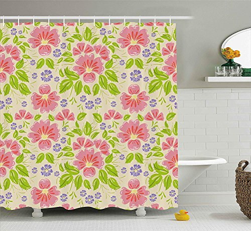 JAKE SAWYERS Shabby Chic Shower Curtain, Floral Seamless Background with Flowers and Leaf Artwork, Fabric Bathroom Decor Set with Hooks, 84 Inches Extra Long, Violet Light Pink and Apple Green