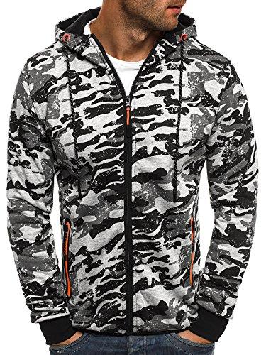 OZONEE Herren Sweatshirt Pullover Kapuzenpullover Camouflage Pulli Sweats J.Style DD99-10 2XL GRAU