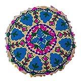 HauptDécor Bett-Kissen gestickter Runde Indian Kissenbezug Baumwolle Segeltuch-Fall 17