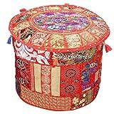 Stylo Culture Pouffe Siège Enfants Vintage Pouf Couverture Ottoman Grand Rouge Indien Brodé Patchwork Coton Traditionnel Tissu Rond Ottoman Pouf Couverture (22x22x13 Pouces) 55cm