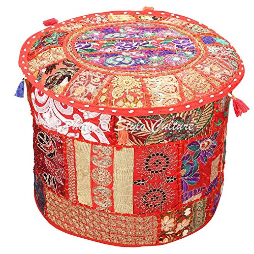 Stylo Culture Asiento de puf niños Puf Vintage Puf Cubierta Grande Rojo Indio Bordado Patchwork de algodón Puf otomano Tela Redonda Tradicional Puf (22x22x13 Pulgadas) 55cm