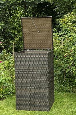 Mülltonnenbox gross für Tonnen bis 240 Liter, 76x78x123cm, Stahl + Polyrattan Geflecht mocca von gartenmoebel-einkauf - Du und dein Garten