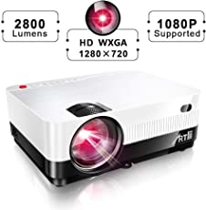 Artlii tragbar Beamer hd 2018 Aktualisiert + 40% Lumen LED Video Projektor Full HD Unterstützung HDMI VGA USB AV SD, verbunden mit TV Fire Stick Laptop Smartphone/iPad Xbox