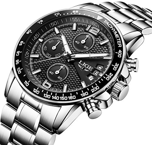 Mens-Chronograph-Stainless-Steel-Watches-Men-Sports-Waterproof-Date-Analogue-Watch-Gents-Calendar-Luxury-Casual-Bussiness-Multifunction-Wrist-Watch-with-Black-Dial-Silver-Band