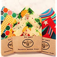 Set of 4 Beeswax food wraps, Zero Waste, Biodegradable, Eco, 100% Natural ingrediants