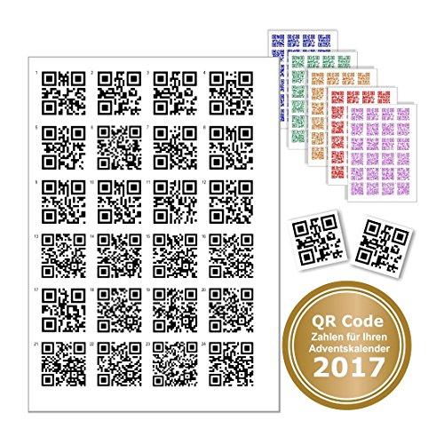 24 Aufkleber mit QR-Code für Adventskalender, jeder Code mit Rechenaufgabe oder Text, nötig zum Finden des richtigen Türchens - Farbe QR-Codes schwarz