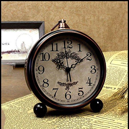 XKS Europäische Antike Tischuhr - Nachttisch Wecker - Wohnzimmer American Desk Clock - Desktop...