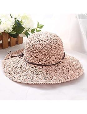 LVLIDAN Sombrero para el sol del verano Lady Anti-Sol Playa sombrero de paja plegable rosa de estilo simple