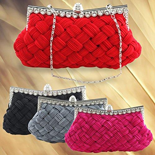 Broadfashion, Poschette giorno donna Multicolore Rosso/rosa large nero
