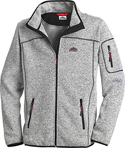 Stubai - Strick Fleecejacke Herren/Strickjacke mit Fleece Innenseite für Outdooraktivität, Strick Fleece Jacke mit Stehkragen und Reißverschluss (Farbe: Grau, Größe: M - 3XL)