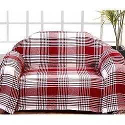 Homescapes Funda de sofa a rayas Negras Rojas y Blancas de 150 x 200 cm en 100% Algodon
