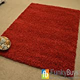 """FunkyBuys® Shaggy Rug Plain 5cm Thick Soft Pile Modern 100% Berclon Twist Fibre Non-Shed Polyproylene Heat Set - AVAILABLE IN 6 SIZES Best Quality On Amazon (Red, 66cm x 110cm (2ft 3"""" x 3ft 7""""))"""