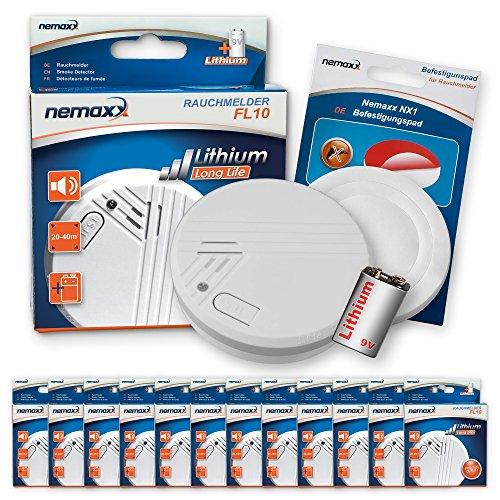 12x Nemaxx FL10 Rauchmelder + 12x Nemaxx NX1 Quickfix Befestigungspad - hochwertiger Rauchwarnmelder...