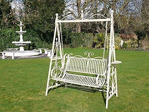 'Hisenborn Park' Antique Cream Garden Swing Bench Seat