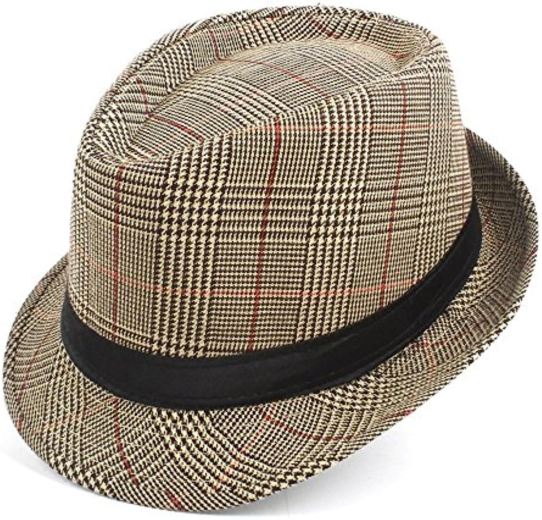 BAOJU Home Cappello - Moda Uomo in Cotone Scozzese Scozzese Cotone Cappello  Fedora per papà Gentleman 37c8ea15145e