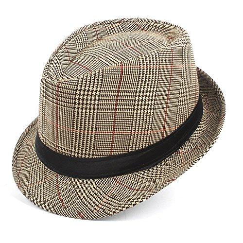 BJYG Kappe Mode Männer Baumwolle Plaid Fedora Hüte Für Papa Gentleman Sun Homburg Hut Größe 58 cm Chapeau Dicer (Farbe: Tan, Größe: 58 cm) -