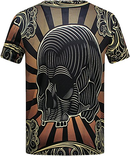 Pretty321 Men's 3D Vintage Floral Pattern Black Casual T-Shirt Collection Skull Head Pattern