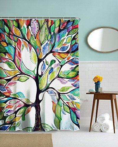 izielad Bunte Kunst Baum Bad Dekorationen Badezimmer Dekor Sets mit Haken Baum des Lebens Polyester Stoff Schimmel Resistent Duschvorhang 180x200cm 72