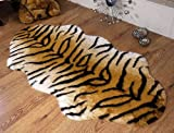 Tiger animal print faux fur double sheepskin rug 70 x 140 cm