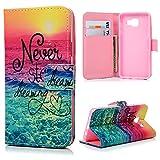 MAXFE.CO Leder Tasche Case Cover für Samsung Galaxy A3 (2016) Hülle PU Schutz Etui Schale Farbe des Meeres Muster Design Back