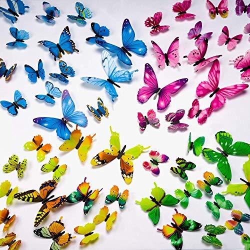 UNEEDE 72PCS Schmetterling Wandaufkleber 3D DIY Kunstdekor Handwerk Leuchtende Wandaufkleber für Kinder Kinderzimmer Schlafzimmer Wohnzimmer Party und Geburtstag Dekoration