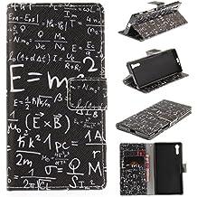 Funda Sony Xperia XZ Case , Ecoway Patrón pintado PU Leather Cuero Suave Cover Con Flip Case TPU Gel Silicona,Cierre Magnético,Función de Soporte,Billetera con Tapa para Tarjetas ,Carcasa Para Sony Xperia XZ - fórmula numérica