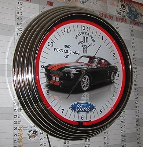 Neon Horloge 1967Noir Ford Mustang GT Horloge murale éclairé avec bague Fluo Rouge