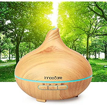 InnooCare Diffuseur d'Huiles Essentielles 300ml Humidificateur Silencieux Diffuseur Arrêt Automatique avec 7 Couleurs Changeantes 4 Réglages de Temps pour Spa Yoga