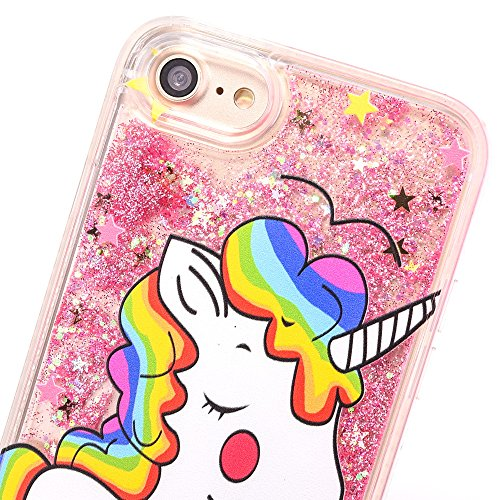Cover iPhone 7 Plus 8 Plus Unicorno, E-Unicorn Custodia Cover Apple iPhone 7 Plus 8 Plus Brillantini Glitter Liquido Trasparente con Disegni 3D Unicorno Oro Cristallo di Bling Rigida Case Copertura Pr Rosa Unicorno