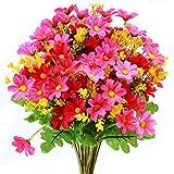 Turelifes -  4 mazzi di fiori artificiali con piccole margherite, 7rami e 28fiori in seta, per ufficio, casa, decorazione di nozze Rose red