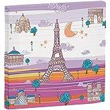 Eiffel Baby Francia - Lienzo, 27 x 27 cm, color malva / naranja