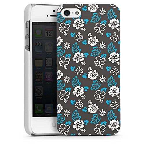 Apple iPhone 4 Housse Étui Silicone Coque Protection Fleur Rétro Motif CasDur blanc