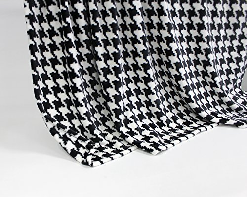 Feinste Mikrofaserdecke Kuscheldecke Tagesdecke, extra dick mit Silk/Cashmere Touch, ca. 150 x 200 cm, schwarz/weiss kariert -