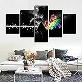 """5 Parti stampato pittura di tela di canapa di musica rock di Pink Floyd per la decorazione domestica del salone Poster della parete di arte della tela di canapa(50""""W x 28"""" H, Senza telaio) CrmOArt"""