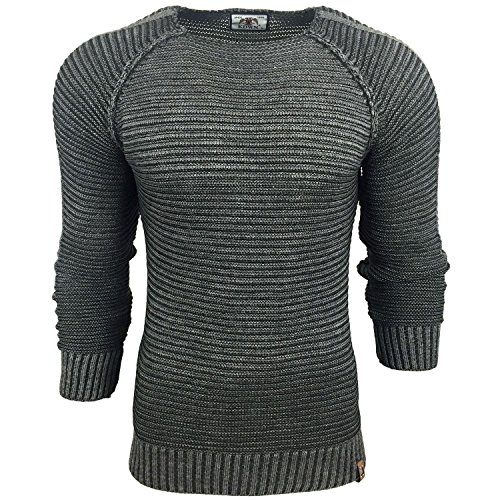 Subliminal Mode - Pull Over Fin Col arrondi Homme Tricot SB-17007 Petite Maille Anthracite
