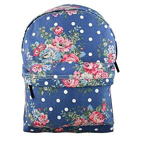 Miss Lulu Sac à dos en toile rétro fille Benzi Sac à bandoulière Motif Floral Bleu marine à