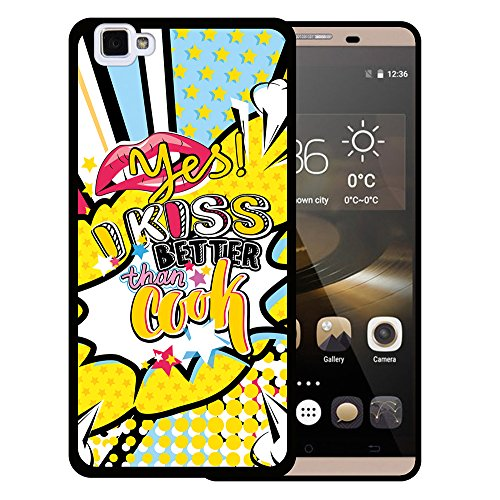WoowCase Cubot X15 Hülle, Handyhülle Silikon für [ Cubot X15 ] Comische Lippen Satz - Yes I Kiss Better Than I Cook Handytasche Handy Cover Case Schutzhülle Flexible TPU - Schwarz