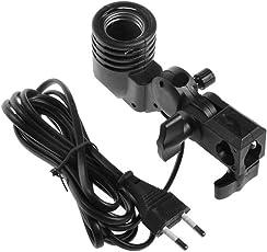 SHOPEE Branded Photography Photo Light Lamp Bulb Single Holder E27 Socket Bracket Studio EU Plug,Black