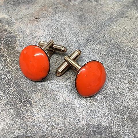 Orange Button Enamelled Enamel Mens Cufflinks