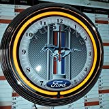 NEONUHR NEON CLOCK FORD MUSTANG RACING CARBON DESIGN WANDUHR BELEUCHTET MIT ORANGE NEON RING-ERHÄLTLICH AUCH MIT ANDEREN NEON FARBEN-SIEHEN VERGLEICHSBILDER!