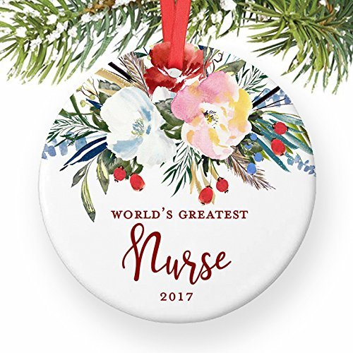 ment zum Basteln der Welt der größten Krankenschwester RN LPN Krankenschwester, Geschenk für Ihre Krankenschwester, Schule, Abschlussfeier, Weihnachtsdekoration für Baumdekoration ()