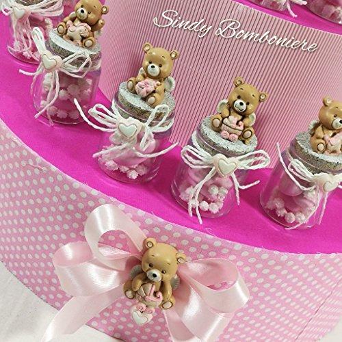 Idea bomboniera per nascita battesimo bimba con vasetti orsetto profumatore albero della vita 1° compleanno (vasetto bomboniera singolo aggiunto fuori struttura)