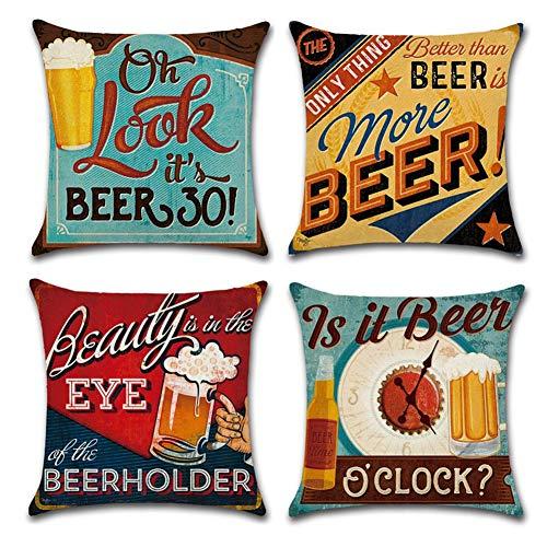Gspirit 4 Stück Kissenbezug Retro Bier Muster Dekorative Kissenhülle Baumwolle Leinen Werfen Sie Kissenbezüge 45x45 cm