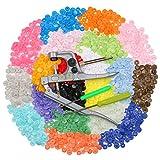 Rixow Snaps Zange mit 300 Set + Druckknöpfe in 20 Farben Nähfrei Buttons für DIY Basteln